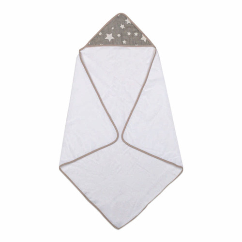 Living Textile Hooded Towel - Grey Stars