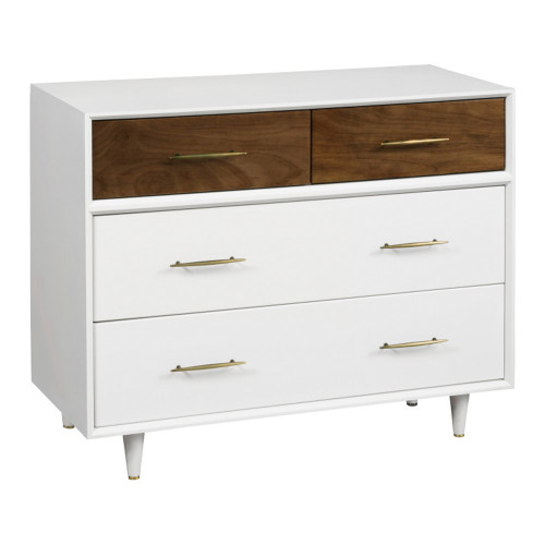 Babyletto Eero 4-Drawer Dresser - White and Natural Walnut