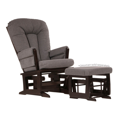 Dutailier Modern Wooden Glider - Dark Grey and Espresso Wood Finish