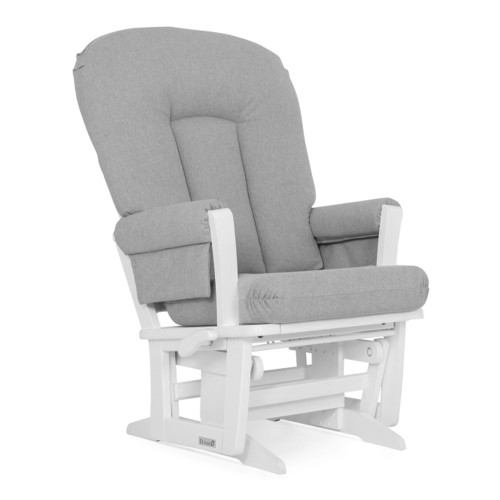 Dutailier Modern Wooden Glider - Light Grey and White Wood Finish
