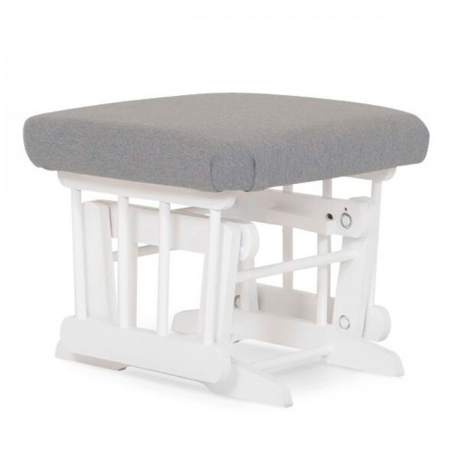 Dutailier Modern Wooden Gliding Ottoman - Light Grey and White Wood Finish
