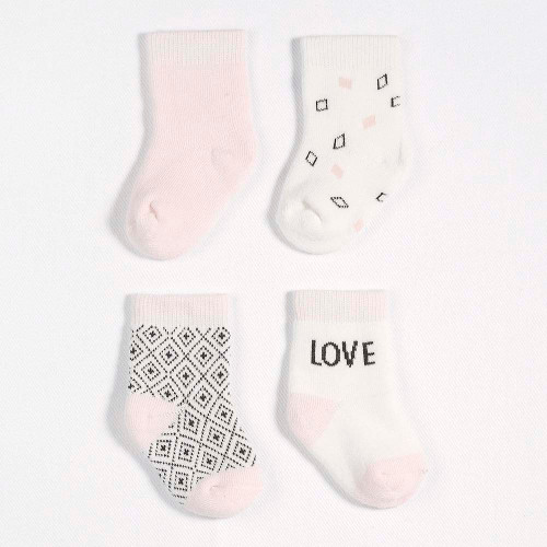 Petit Lem 4-Pack Socks - Honey Bunny Light Pink (NB-3 Months)
