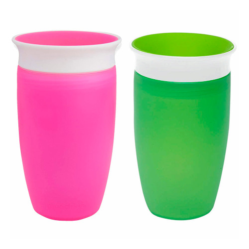 Munchkin Miracle 360 10oz Toddler Cup 2-Pack - Green & Pink