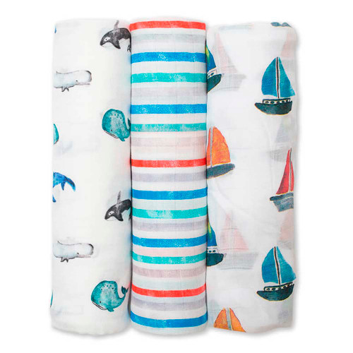Lulujo Bamboo Muslin Swaddle 3-Pack Set - Out To Sea