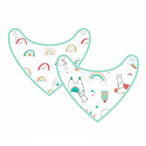 Loulou Lollipop Luxe Muslin 2-pack Bandana Bibs - Llama/Rainbow