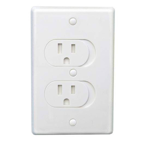 Qdos Universal Outlet Cover - White SelfClosing 3 Pack