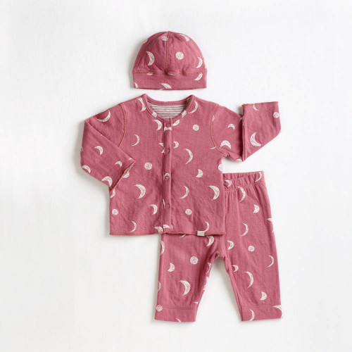 Petit Lem 3-Piece Reversible Outfit Set - Dusty Pink Moons (6 Months)