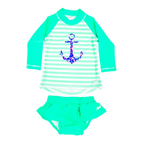 Baby Banz Long Sleeved Two-Piece Girls Swimsuit - Anchor (Size 0)