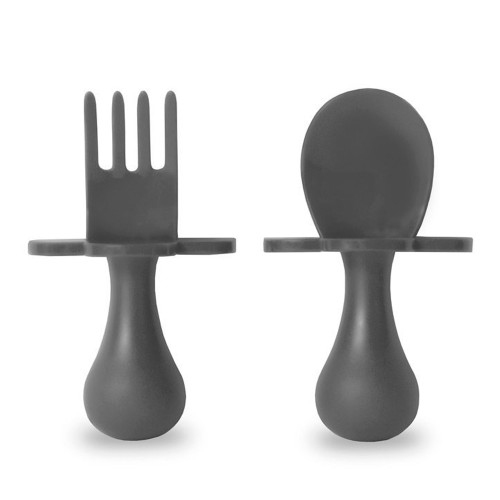 Grab Ease First Self-Feeding Baby Utensil Set of Spoon and Fork - Gray