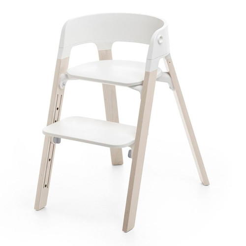 Stokke Steps Chair - White Seat with Whitewash Legs