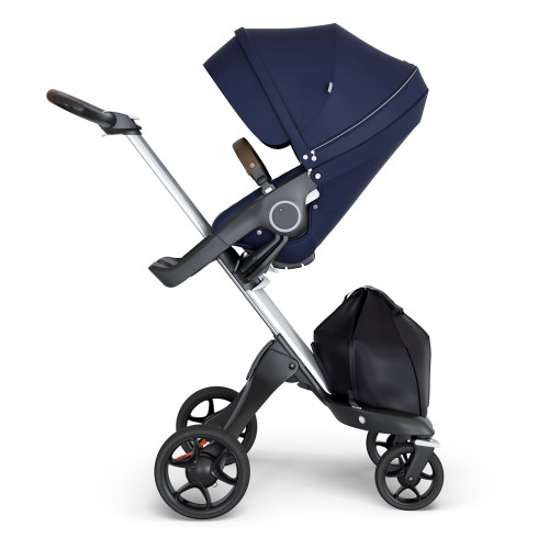 Stokke Xplory V6 Stroller - Deep Blue with Silver Chassis & Brown Leather