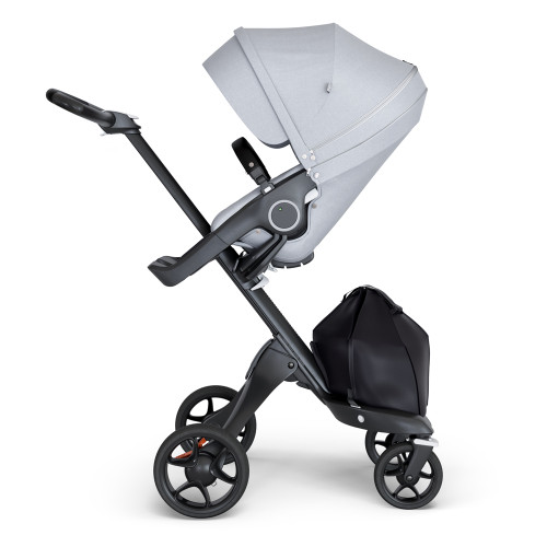 Stokke Xplory V6 Stroller - Grey Melange with Black Chassis & Black Leather