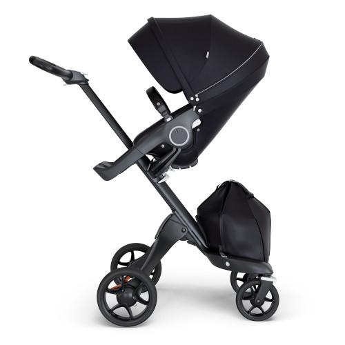 Stokke Xplory V6 Stroller - Black with Black Chassis & Black Leather