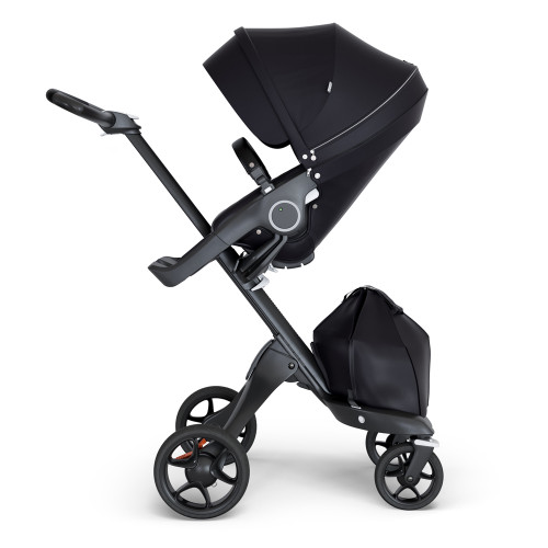 Stokke Xplory V6 Stroller - Black with Black Chassis & Black Leather