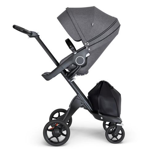 Stokke Xplory V6 Stroller - Black Melange with Black Chassis & Black Leather