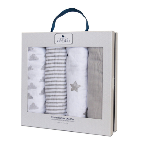 Living Textile Baby Bento Gift Set - Grey 4-Pack Muslin Swaddle Blankets