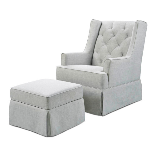 Million Dollar Baby Sadie Swivel Glider with Storage Ottoman - Light Grey Tweed