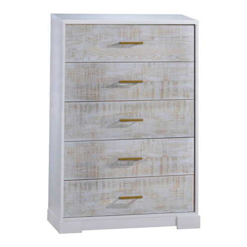 NEST Vibe 5-Drawer Dresser - White & White Bark