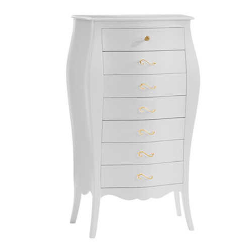 Natart Allegra Gold 7-Drawer Lingerie Chest - White