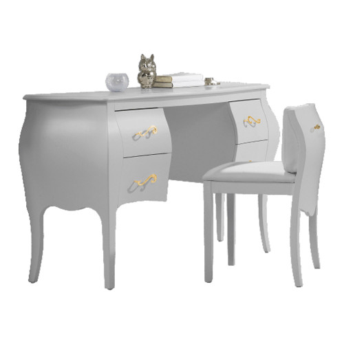 Natart Allegra Gold Desk/Vanity with Pull-out Chair - White