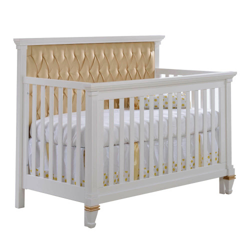 Natart Belmont Gold 5-in-1 Convertible Crib - White with Gold Headboard Panel