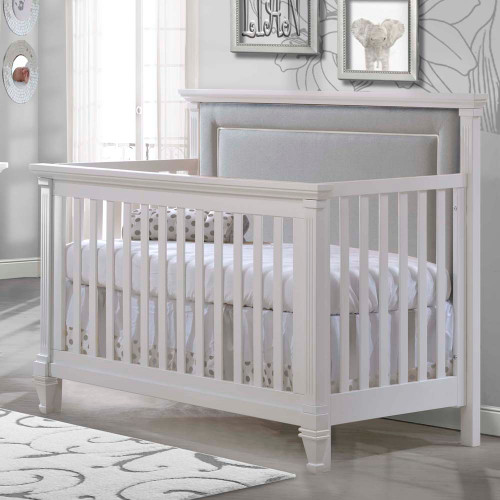 Natart Belmont 5-in-1 Convertible Crib - White with Linen Grey Headboard Panel