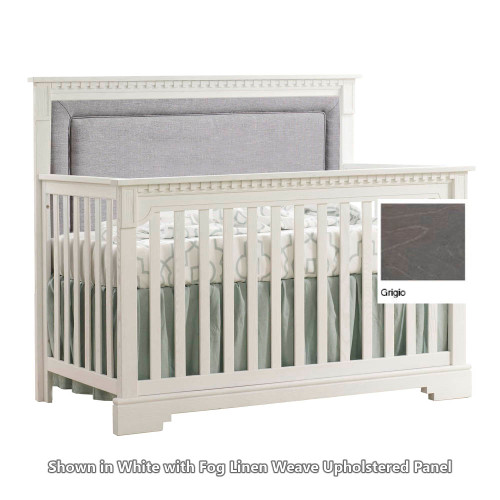 Natart Ithaca 5-in-1 Convertible Crib - Grigio with Fog Linen Weave Headboard Panel