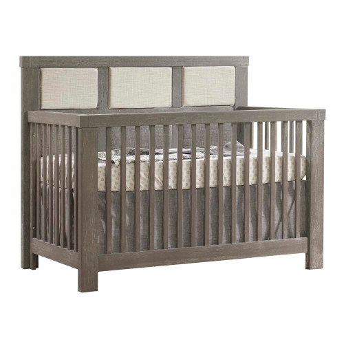 Natart Rustico 5-in-1 Convertible Crib - Grigio with Talc Linen Weave Headboard Panel
