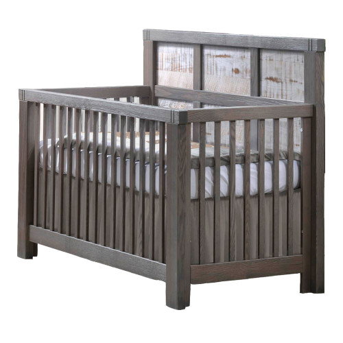 Natart Rustico Moderno 5-in-1 Convertible Crib - Grigio with White Bark Wood Headboard Panels