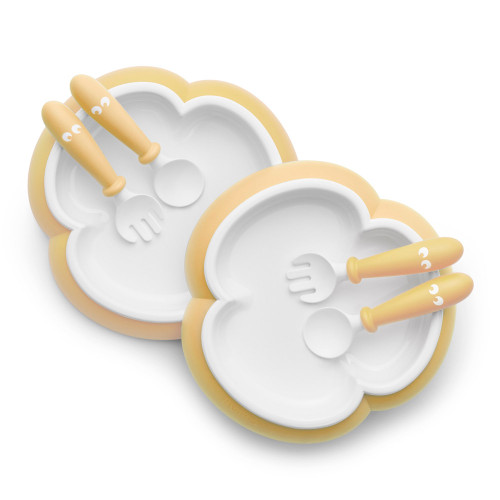 BabyBjorn Baby Plate,Spoon, and Fork, Set of 2 - Powder Yellow