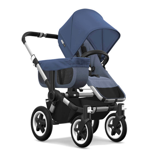 Bugaboo Donkey2 Mono Complete Stroller - Blue Melange Seat and Sky Blue Canopy with Aluminum Frame
