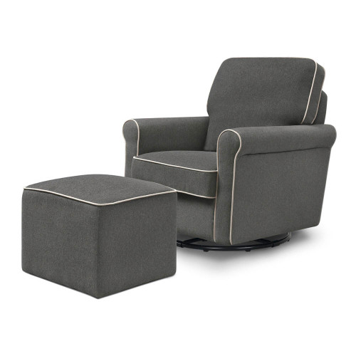 DaVinci Maya Swivel Glider and Ottoman - Dark Grey with Cream Piping