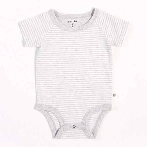 Peit Lem Essentials Organic Cotton Onesie - Grey Striped (6 Months)