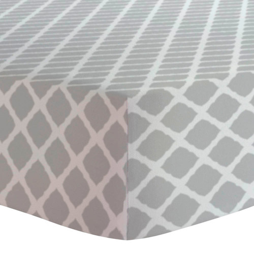 Kushies Flannel Mini Crib Sheet - Grey Lattice