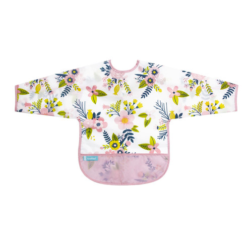 Kushies Cleanbib with Sleeves - Pink Garden Flowers (6-12 Months)
