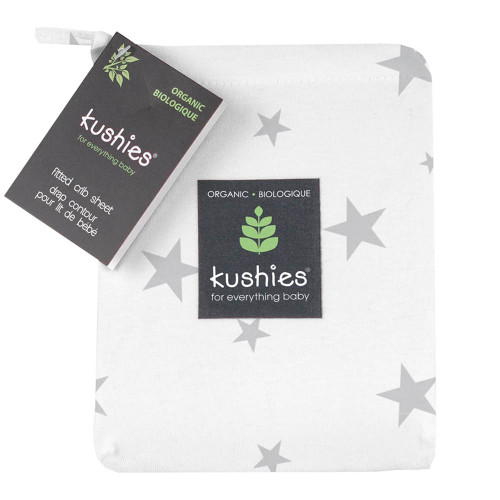 Kushies Organic Jersey Fitted Crib Sheet - Grey Stars