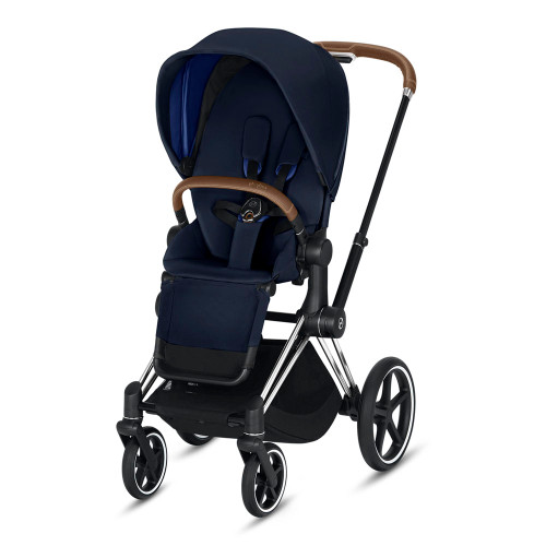 Cybex Priam Complete Stroller - Indigo Blue with Chrome/Brown Frame