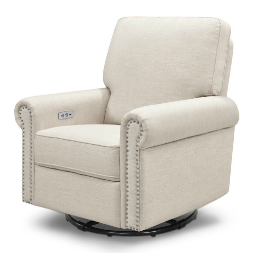 Million Dollar Baby Linden Power Recliner with USB Charging Port - White Linen
