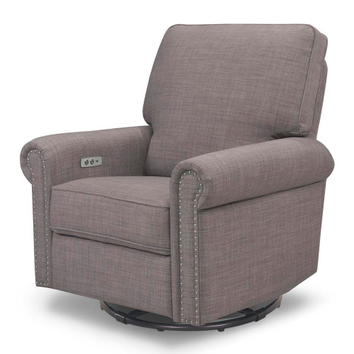 Million Dollar Baby Linden Power Recliner with USB Charging Port - Grey Tweed