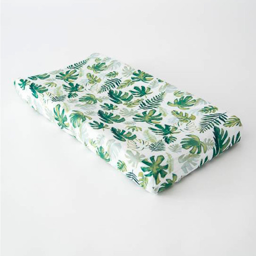 Little Unicorn Cotton Muslin Changing Pad Cover - Tropical Leaf (Changing Pad not included)