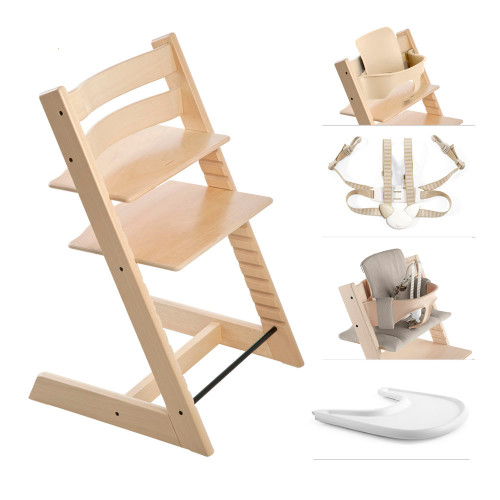 Stokke Tripp Trapp High Chair Complete - Natural with Timeless Grey Cushion