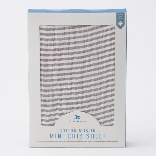 Little Unicorn Cotton Muslin Mini Crib Sheet - Grey Stripe