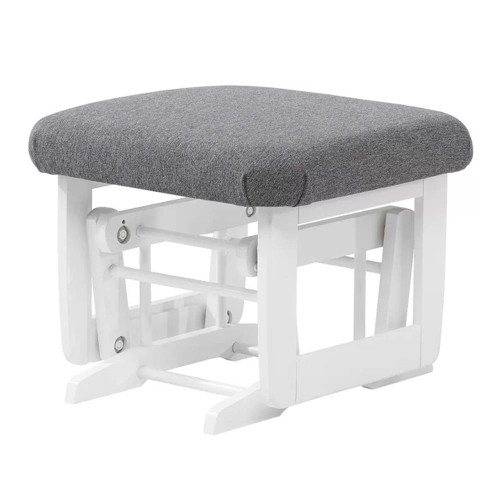 Dutailier Modern Wooden Gliding Ottoman - Dark Grey and White Wood Finish