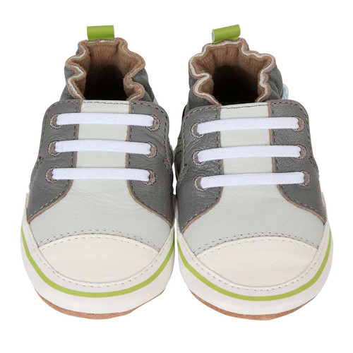 Robeez Soft Soles Slippers - Grey Trendy Trainers (6-12 Months)