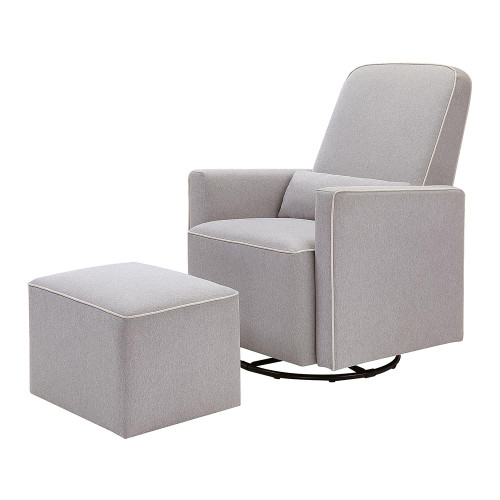 DaVinci Olive Swivel Glider with Ottoman - Grey with Cream Piping