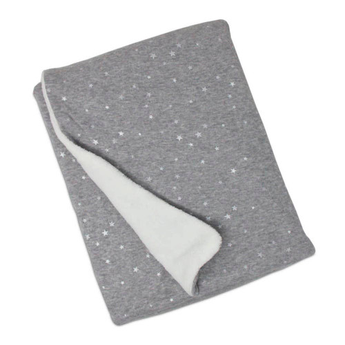 Living Textiles Cotton Jersey Blanket with Sherpa Lining - Grey Metallic Stars