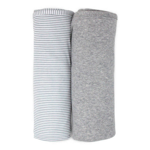 Living Textiles Cotton Jersey Swaddle Blanket 2-Pack Set - Grey Marl + Grey Heathered Stripes