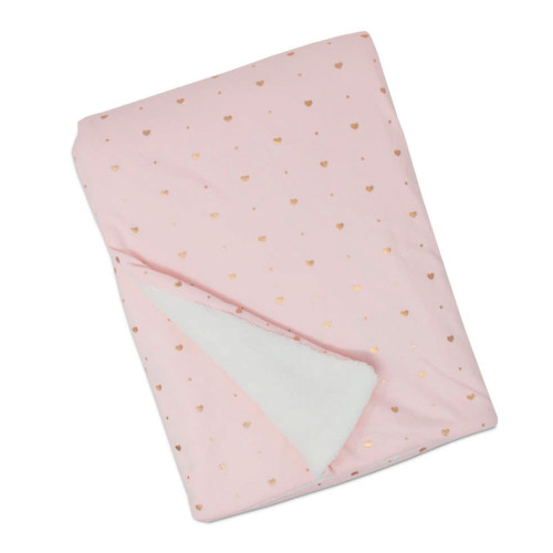 Living Textiles Cotton Jersey Blanket with Sherpa Lining - Pink Metallic Stars