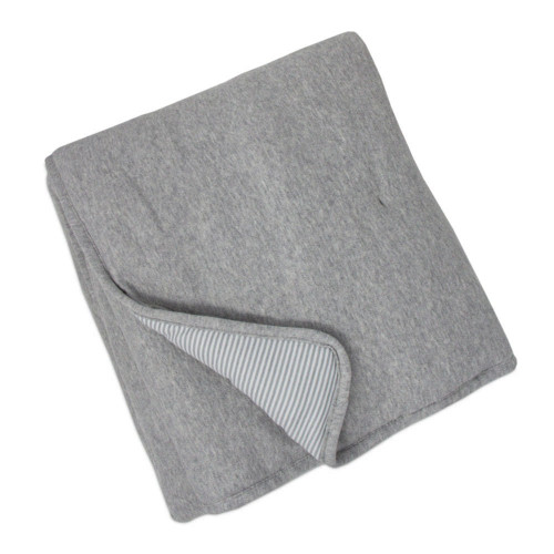 Living Textiles Cotton Jersey Quilted Comforter - Grey Marl + Grey Heathered Stripes