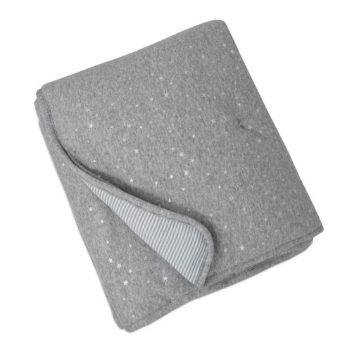 Living Textiles Cotton Jersey Quilted Comforter - Metallic Stars + Grey Heathered Stripes